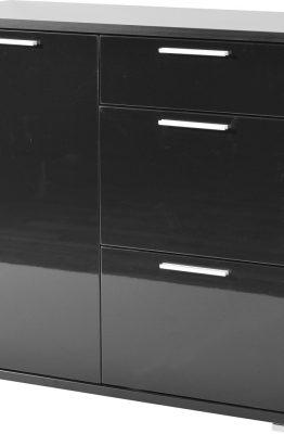 Commode Almeria 88 cm hoog - Zwart met Hoogglans Zwart
