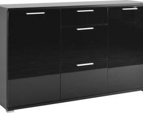Dressoir Almeria 144 cm breed - Zwart met Hoogglans Zwart