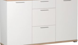 Dressoir Apex 144 cm breed - wit met eiken